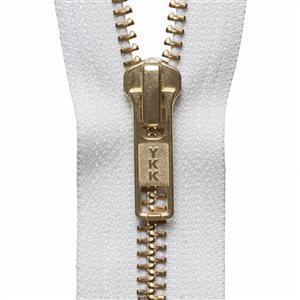Brass Metal Open End Zip in White 46cm/18.11in