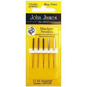 John James Pack of 5 Regular Point Sewing Machine Needles Size 11/16 (80/100)