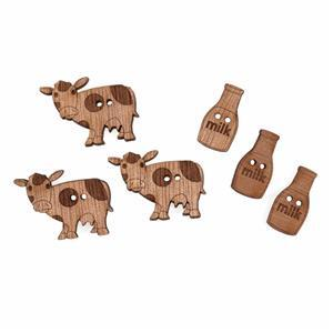 Wooden Buttons Farm Pack Of 6