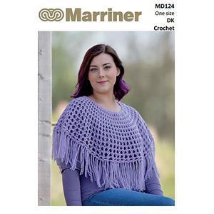Marriner Crochet Ponchette with Tassels in DK Knitting Pattern