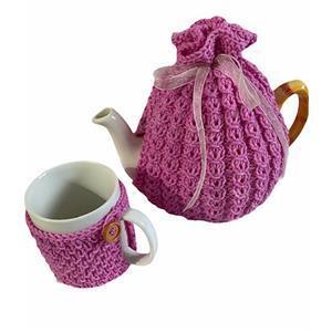 Twink Knits Pink Tea Cosy and Mug Cosy Kit