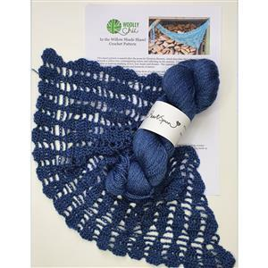 Woolly Chic Denim Blue In the Willow Shade Scarf Kit